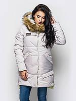 Зимняя женская куртка с мехом на силиконе 90248/2
