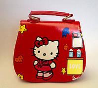 "Сумка детская ""Hello Kitty"" с  ремешком через плечо красного цвета"