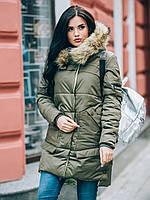 Зимняя женская куртка с мехом на силиконе 90248/3