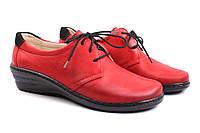 Туфли женские Wasak натуральная кожа, цвет красный (платформа, комфорт, шнуровка, Польша)