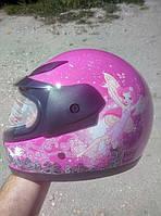 Мотошлем BLD-801 детский (розовый, феи)