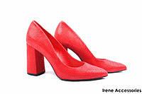 Туфли женские нубук Bravo Moda (изысканные, удобная колодка, каблук, кожа, красные, Польша)