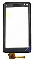 Тачскрин (сенсор) Nokia N8, N8-00 with black frame (с черной рамкой), black (черный)