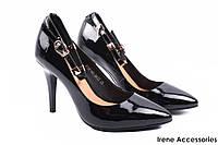 Элегантные туфли женские Erisses лаковая кожа, черные (изысканные, удобная колодка, шпилька, маленький размер)