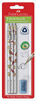 Графітний олівець Faber-Castell 118379 B MOTIF (3 шт+гумка)