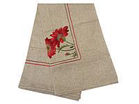 Льняная скатерть с вышитыми Маками 140-220 см