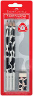 Графітний олівець Faber-Castell 118390 B MOTIF (3 шт+гумка)