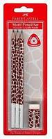 Графітний олівець Faber-Castell 118391 B MOTIF (3 шт+гумка)