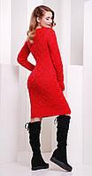 Платье короткое вязаное цвета коралл