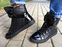 Женские ботинки LV хайтопы лак осень флис Европа 36-41