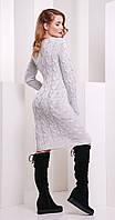 Платье короткое вязаное светло-серое