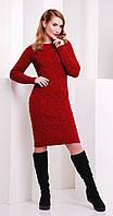 Платье короткое вязаное цвета марсала