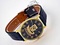 Часы мужские с Гербом Украины золотистые на черном ремешке