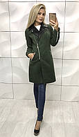 Женское кашемировое пальто хаки