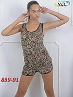 Женский ночной комплект леопардовый