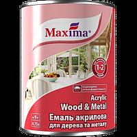 Эмаль акриловая для дерева и метала Maxima, белая 0,75 л (0.85 кг)