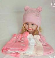 Детская теплая шапка для девочки ярко-розовый
