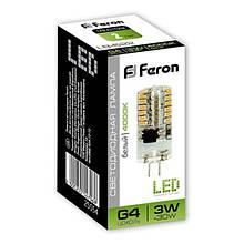 Лампа LED галогенова Feron LB-422 12V 3W G4 4000K
