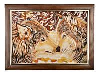 """Картина из янтаря """"Влюбленные волки"""" 40 х 30 см 054-022"""