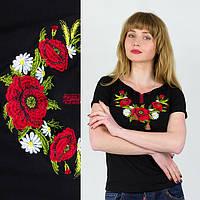 Женская футболка с вышивкой на черном фоне размер: С,М,Л,ХЛ,ХХЛ