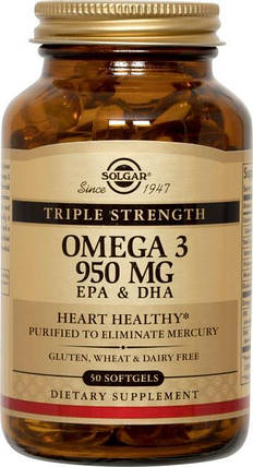 Triple Stength Omega-3 950 mg Solgar, фото 2