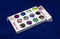 Набор паетки-соты для дизайна ногтей, цветные 12 шт, фото 1