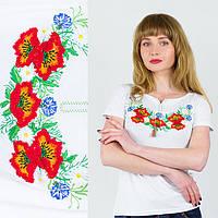Белая женская футболка с красными маками размер: С,М,Л,ХЛ,ХХЛ