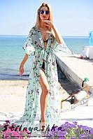 Пляжная длинная накидка на купальник Бабочки ментол