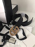 Жіночий шкіряний ремінь Гуччі з пряжкою-логотипом золото (репліка), фото 1