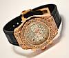 Женские часы HUBLOT - Geneve cristal, черный каучуковый с кожей ремешок, кристаллы