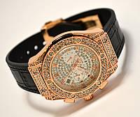 Женские часы HUBLOT - Geneve cristal, черный каучуковый с кожей ремешок, кристаллы, фото 1