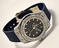 Женские часы HUBLOT - Geneve cristal, синий каучуковый ремешок, кристаллы, фото 1