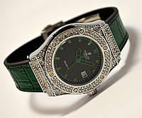 Женские часы HUBLOT - Geneve cristal, зеленый каучуковый с кожей ремешок, кристаллы