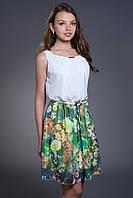 Шифоновое платье с цветочным принтом, с поясом. Код модели Л-26-25-14.