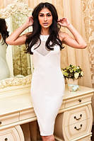 Платье женское коктейльное с сеткой, материал - трикотаж, цвет - белый