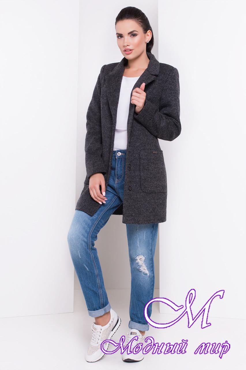 Женское темно-серое осеннее пальто (р. S, M, L) арт. Вейси шерсть №9 - 16546