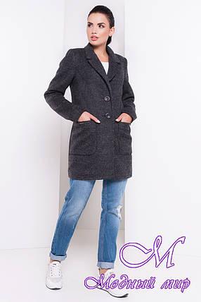 Женское темно-серое осеннее пальто (р. S, M, L) арт. Вейси шерсть №9 - 16546, фото 2