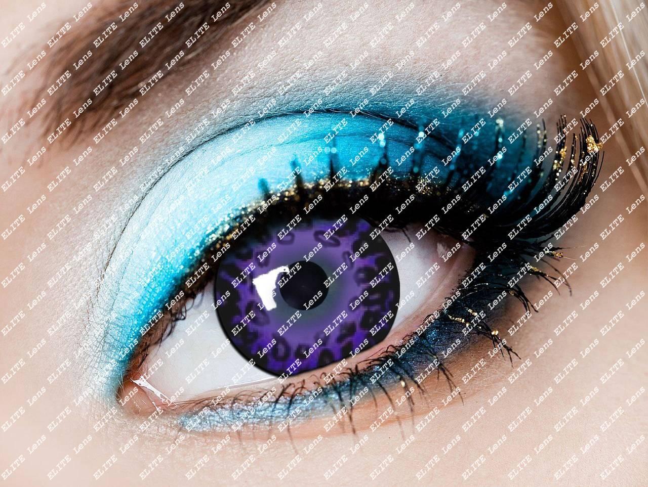 """Цветные косметические линзы """"Фиолет лео"""" на светлых глазах"""