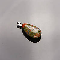 Кулон нат. камень яшма Гелиотроп Капля 3х1,5см