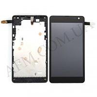 Дисплей (LCD) Microsoft 535/  535 Lumia Dual Sim с сенсором черный + рамка (CT2C1607FPC- A1)