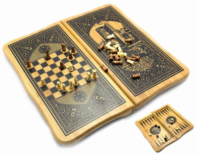 Нарды + Шахматы из бамбука «Баку»