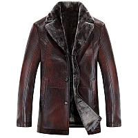 Куртка зимняя на овчине.Текстура рептилии.Натуральная кожа.Большие размеры.