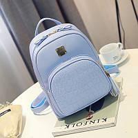 Рюкзак женский городской с карманом под крокодила (голубой), фото 1