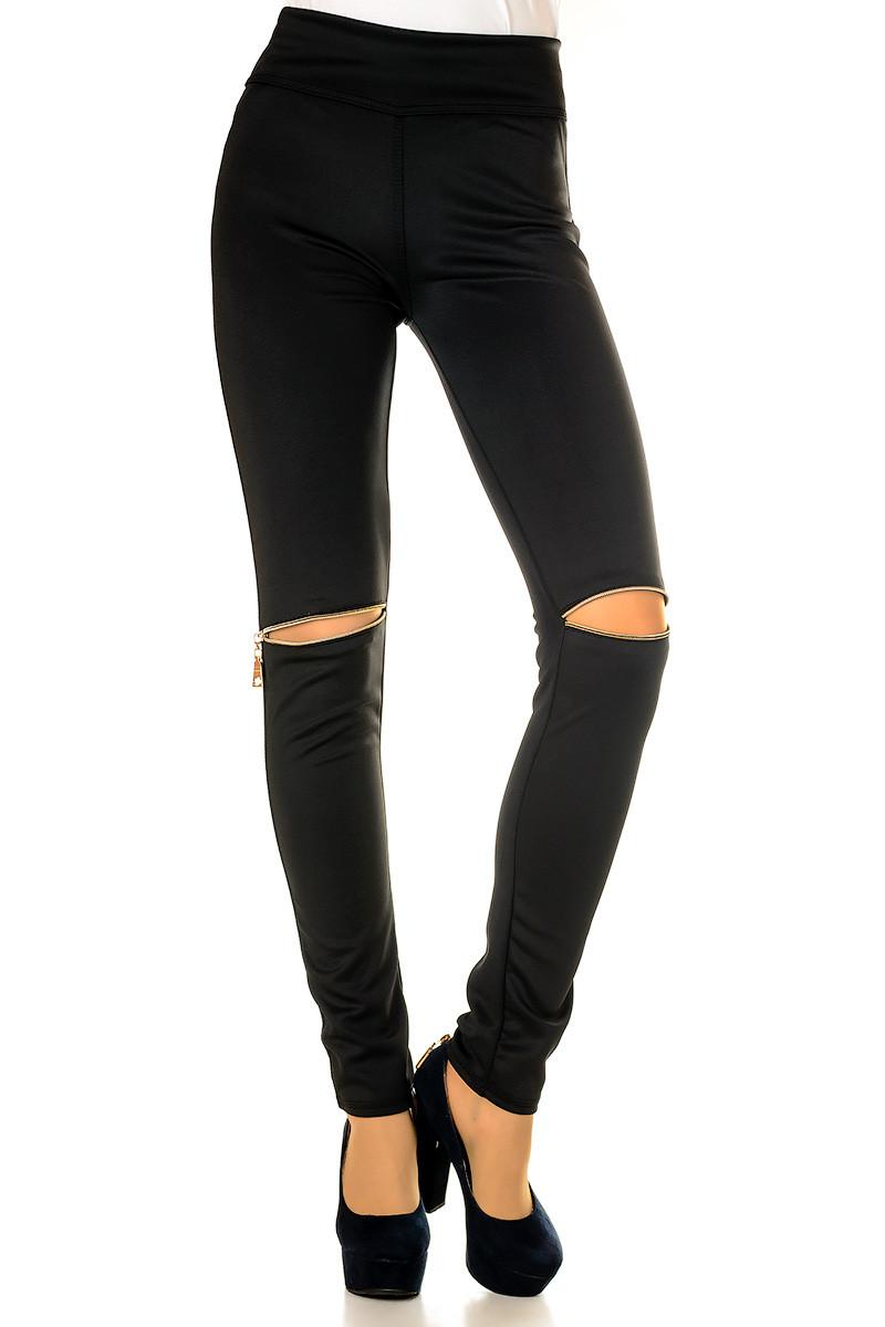 Модные женские леггинсы со змейкой на коленях Irvik L745 черный 42-52