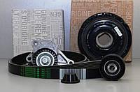 Комплект натяжитель + ролик + шкив + ремень генератора на Renault Trafic 2006-> 2.0dCi (+AC) - 7701477344