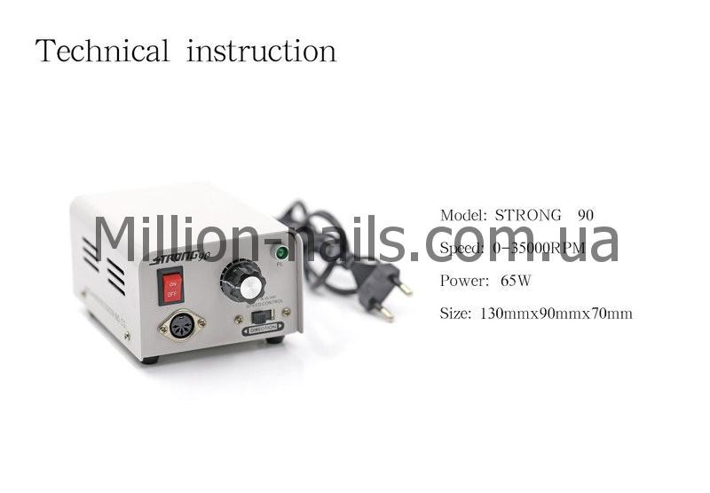 Профессиональный фрезер для маникюра и педикюра Strong 90 на 35 000 об/мин,65 ватт