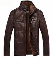 Мужская зимняя куртка с натуральной кожи.