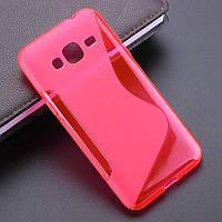 Чехол Samsung J500 / J5 2015 силикон TPU S-LINE розовый