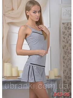 Женский ночной комплект из вискозы серый