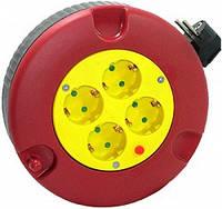 Удлинитель e.es.ring4.4.3.z.h.b рулеточного типа в круглом корпусе 4, 4 гнезда, 3м с з/к защитой от перегрузки
